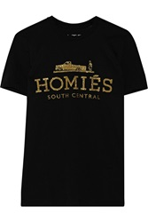Brian Lichtenberg Homies South Central Glitter Printed Cotton T Shirt Metallic