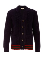 Gucci Contrast Trim Cable Knit Wool Cardigan