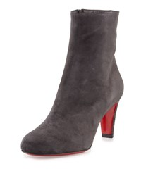 Christian Louboutin Top 70 Suede Red Sole Ankle Boot Charcoal Gray Fusain Grey