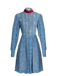 Msgm Tie Neck Floral Lace Dress Light Blue