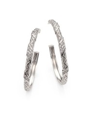 Judith Ripka Mercer White Sapphire And Sterling Silver Hoop Earrings 1.6