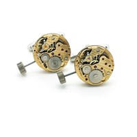 Lc Collection Gold Vintage Caravelle Watch Movement Cufflinks