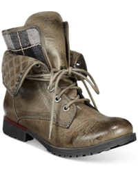 Zigi Rock And Candy Spraypaint Flannel Foldover Lace Up Booties Women's Shoes