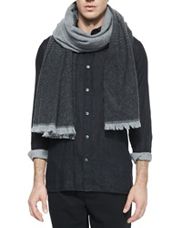 Vince Degrade Wool Scarf Gray Black