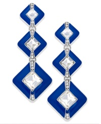 Bar Iii Silver Tone Crystal Blue Geometric Triple Drop Earrings