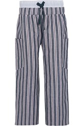 Suno Striped Woven Linen And Cotton Blend Wide Leg Pants Blue