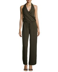 Haute Hippie Halter Neck Sleeveless Jumpsuit Dark Military