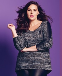 Style And Co. Plus Size Long Sleeve Faux Leather Trim Top