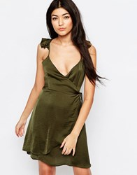 Wyldr Spoken Thoughts Wrap Dress With Frill Straps Green