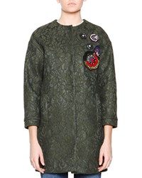 Msgm 3 4 Sleeve Lace Coat W Beaded Applique