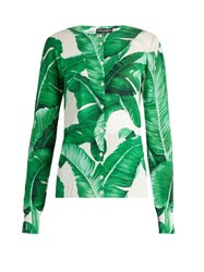 Dolce And Gabbana Banana Leaf Print Silk Cardigan Green Multi