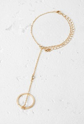 Forever 21 Station Rhinestone Hand Chain Gold Clear