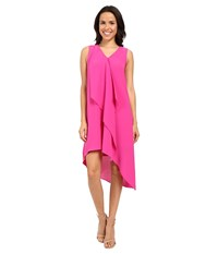 Adrianna Papell Asymmetrical Front Drape Dress Hot Pink Women's Dress