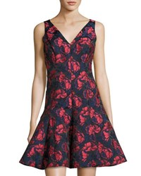 Maggy London Shadow Floral Print V Neck Dress Red Pattern