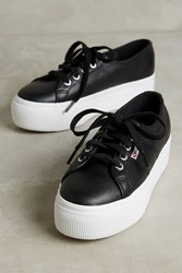 Anthropologie Superga Leather Platform Sneakers Black