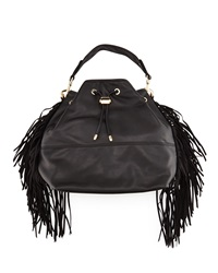 Deux Lux Fringe Bucket Hobo Bag Black