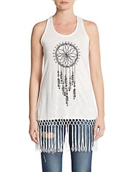 Romeo And Juliet Couture Dream Catcher Fringe Hem Tank Top Ivory
