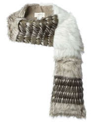 Urbancode Faux Fur Stripped Stole White
