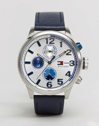 Tommy Hilfiger Jackson Leather Watch In Navy 1791240 Navy