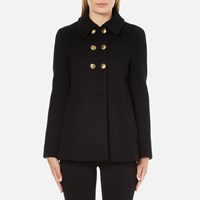Boutique Moschino Women's Pea Coat With Gold Buttons Black