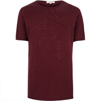 River Island Mens Red Crew Neck Short Sleeve Top