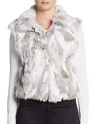 Adrienne Landau Spread Collar Fur Vest Natural Grey