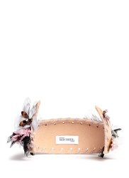 Maison Michel 'Pia' Floral Applique Rabbit Furfelt Crown Headband Neutral Multi Colour