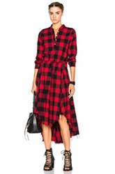 Nsf Caleb Dress In Red Checkered And Plaid