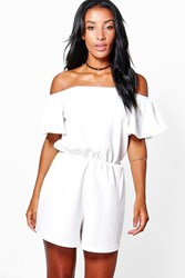 Boohoo Off The Shoulder Flare Sleeve Playsuit Ivory