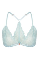 Topshop Geo Lace Racer Back Triangle Bra Pale Blue