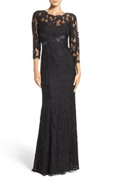 Adrianna Papell Women's Illusion Yoke Lace Gown Black