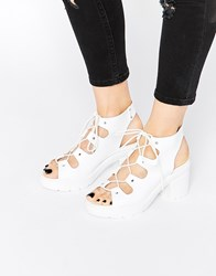 Asos Tempt Lace Up Heeled Sandals White