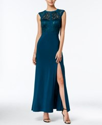 Nightway Banded Lace Cap Sleeve Slit Gown Emerald