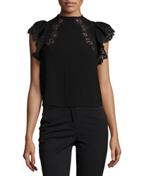 Rebecca Taylor Lace Trim Cap Sleeve Crepe Top Black