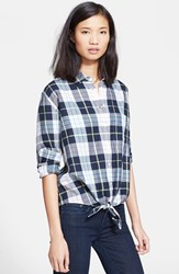 Women's Equipment 'Daddy Groundwork Plaid' Tie Front Shirt Peacoat Multi