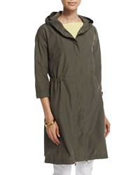 Eileen Fisher Hooded Weather Resistant Long Jacket Petite Women's Oregano