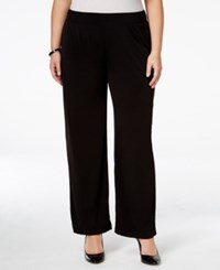 Ny Collection Petite Plus Size Pull On Wide Leg Pants Black