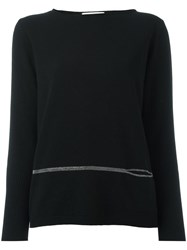 Fabiana Filippi Detail Boat Neck Jumper Black