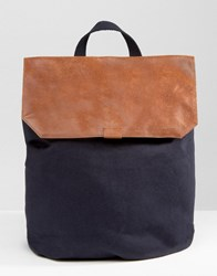 Asos Backpack In Canvas With Leather Top Navy