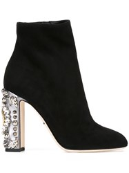 Dolce And Gabbana Embellished Heel Ankle Boots Black