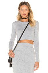 Blq Basiq Long Sleeve Crop Top Light Gray