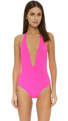Peixoto Flamingo Deep V One Piece Hot Pink