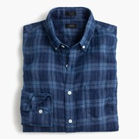 J.Crew Irish Linen Shirt In Indigo Plaid Dark Blue Indigo