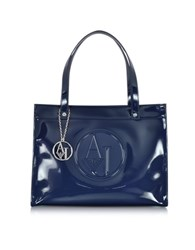 Armani Jeans Faux Patent Leather Tote Blue