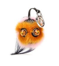 Fendi Bag Bugs Crystal Embellished Leather And Mink Fur Charm Multicoloured