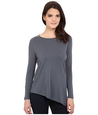 Lilla P Pima Modal Long Sleeve Boat Neck Carbon Women's T Shirt Gray