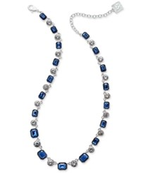 Anne Klein Silver Tone Blue Stone And Crystal Necklace