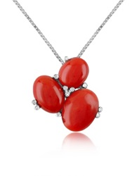 Del Gatto Three Stone Diamond 18K Gold Pendant Necklace Red Coral