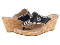 Jack Rogers Marbella Mid Height Espadrille Navy Platinum Women's Wedge Shoes Black