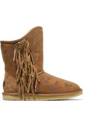 Australia Luxe Collective Naeve Short Embossed Shearling Boots Chocolate